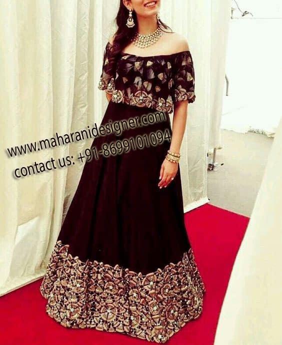 Maharani Designers , Online Boutique in Punjab , Stylish Velvet Lehenga